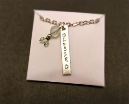 "Hand stamped ""Blessed"" necklace"