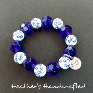 Blue White Floral Beaded Bracelet