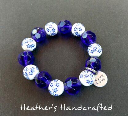 Blue White Floral Beaded Bracelet